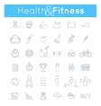 fitness gym and healthy lifestyle flat thin line vector image vector image