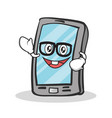 geek face smartphone cartoon character vector image vector image