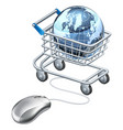 globe computer mouse shopping cart vector image