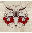 goat skull on the background with occult symbols vector image vector image