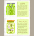 green peas and canned zucchini in jars banners vector image vector image