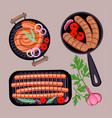 grilled sausages in frying pan vector image vector image