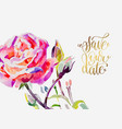 hand painting watercolor rose greeting card vector image