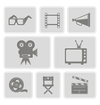 icons with cinema symbols vector image vector image