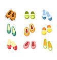 indoor slippers set comfortable green vector image