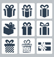 isolated gift present icons set vector image
