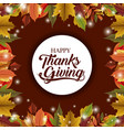 leaves frame of thanks given design vector image