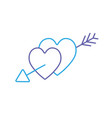 line hearts with arrow to symbolic of passin and vector image vector image