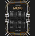 luxury vintage artdeco restaurant menu template vector image