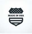 made in usa shield badge with usa flag elements vector image