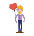 man with beard and heart balloon in the hand vector image vector image