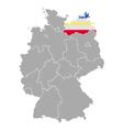 Map of Germany with flag of Mecklenburg-Vorpommern vector image vector image