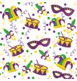 mardi gras fleur de lis mask jester hat and drum vector image vector image