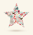 Merry Christmas star shape vector image vector image