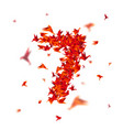 number 7 numbers with origami paper bird on vector image vector image