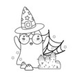 outline ghost wearing glasses with witch hat vector image