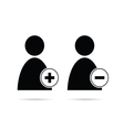 people icon plus and minus black vector image