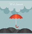 red umbrella in rainy day vector image vector image