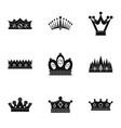 regal crown icon set simple style vector image vector image