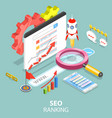 seo ranking flat isometric concept vector image vector image