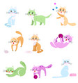 set colorful abstract cats in different home vector image vector image