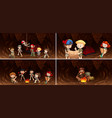 set of camping kids in cave vector image