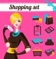 shopping set infographics fashion women vector image