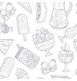 summer food seamless pattern smoothies ice tea vector image
