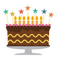sweet birthday cake with seven burning candles vector image vector image