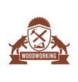 tasmanian devil woodworking crest retro vector image