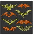 Tattoo set in tribal style on dark background vector image vector image