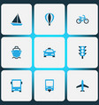 transport icons colored set with balloon bus vector image
