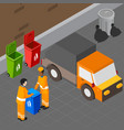 trash pickup isometric composition vector image vector image