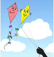 two kites in the sky vector image