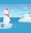 white bear background iceberg ice winter animal vector image vector image