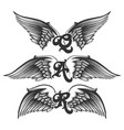winged letters set vector image vector image