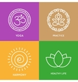 Yoga line symbols in colorful squares vector image