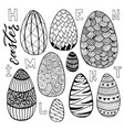 easter eggs set in doodle style holiday vector image