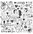 love doodles set vector image