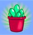 pop art houseplant cactus in a pot white vector image