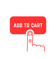 add to cart button with red thin line palm vector image vector image