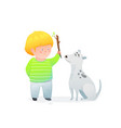 adorable little boy and his curious puppy dog vector image vector image
