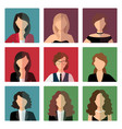 adult women avatar icons set vector image vector image
