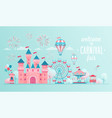 amusement park landscape banners with castle vector image