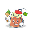 artist tea bag character cartoon vector image vector image