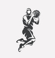 basketball player jumping stylized silhouette vector image vector image