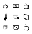 black TV icons set vector image vector image