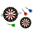 Cartoon dartboard target character with colorful vector image