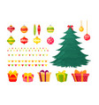 christmas tree with vector image vector image