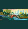 city garden flat cartoon background panorama vector image vector image